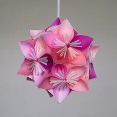 Mini Kusudama Pink Flower Ball