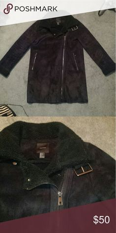 Black fur lined coat Hard to photograph. 100% polyester, solid black. Bought this season. Super soft and warm, gun metal colored zippers. No hood. Two zippered pockets Forever 21 Jackets & Coats