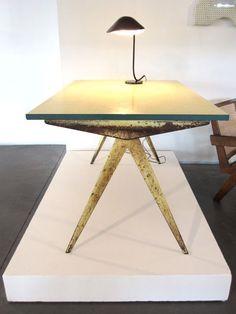 """""""Compas cafétéria"""" table, model no.512, Manufactured by Les Ateliers Jean Prouvé, France., c.1953"""