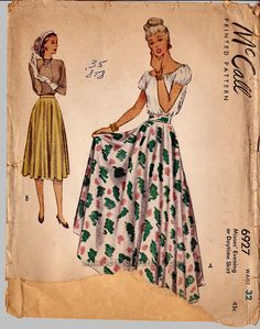 vintage skirt patterns   1940s Bias Skirt Vintage Sewing Pattern McCalls by bctreasuretrove