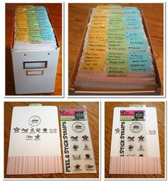 Voilà l'idée que je cherchais pour ranger mes tampons transparents ! This is THE idea I was looking for to organize my clear stamps ! Esta es LA idea que buscaba para arreglar mis sellos ! Scrapbook Room Organization, Craft Organisation, Scrapbook Storage, Sticker Organization, Scrapbook Rooms, Paper Organization, Scrapbook Supplies, Scrapbooking Technique, Planners