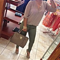 Spring Outfit - Green and tan