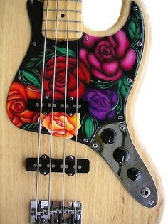 Custom Fender Jazz Bass Pickguard with colorful flowers roses,