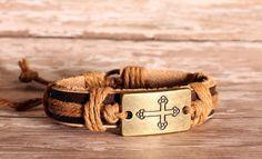 Leather wrap brass cross bracelet by Onlybygracejewelry on Etsy, $4.00