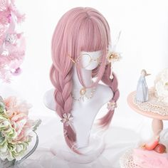 Kawaii Pink Lolita Straight with Bangs Wig - Kuru Store Kawaii Hairstyles, Pretty Hairstyles, Wig Hairstyles, Anime Wigs, Anime Hair, Dress Dior, Kawaii Wigs, Lolita Hair, Kawaii Cosplay
