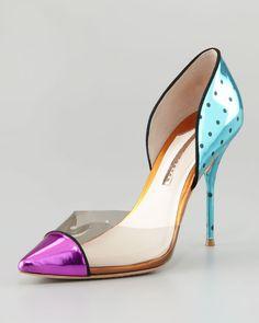 e0d5c4bf487 Jessica Metallic Mixedmedia Pump - Lyst Fancy Shoes