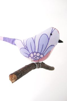 Vintage Fabric Bird Mobile Handmade Home Decor by PigsHaveWings
