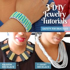 Three Easy DIY Jewelry Tutorials Using Unexpected Materials: a safety pin bracelet, hairpin bib necklace and braided t-shirt necklace.