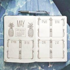 Bullet journal weekly layout, pineapple drawing.   @blackandwhitebujo