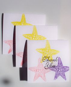 Cards Mini Thank You Notes Seaside Starfish Set by krafterskorner ON ETSY.