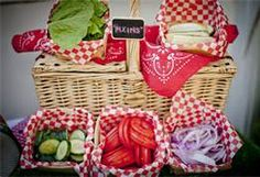 Love this for the condiments - might have to go with blue and red for the decorations!