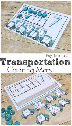 Practice simple counting, addition, and subtraction with these fun Transportation Counting Mats! There is lots of fun to be had with this free pritnable! Math Activities For Kids, Counting Activities, Preschool Themes, Preschool Printables, Preschool Classroom, Fun Math, Number Activities, Preschool Learning, Toddler Preschool