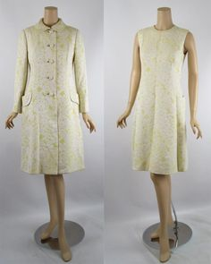 Vintage 1960s Malcolm Starr MOD Yellow and White Brocade Dress and Coat Vtg Sz 14 B36 W32 offered by ALLEY CATS VINTAGE a Ruby Lane Shop #MOD #60style #Madmen #MalcolmStarr