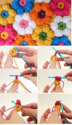 Watch The Video Splendid Crochet a Puff Flower Ideas. Wonderful Crochet a Puff Flower Ideas. Puff Stitch Crochet, Crochet Puff Flower, Crochet Flower Tutorial, Crochet Flower Patterns, Crochet Blanket Patterns, Crochet Flowers, Crochet Stitches, Yarn Flowers, Flower Diy