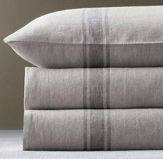 sweet subtle stripe linen bedding • restoration hardware