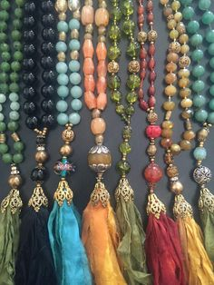 Custom order: Silk sari saree tassel necklace. vIntage, semi precious, multi color, gemstone, miriam haskell glass, sterling. Ave. price 78