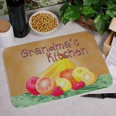 """#GrandparentsDay Personalized Grandma Kitchen Cutting Boards. Personalized Grandma's Cutting Board - Personalized Kitchen Cutting Boards. Grandma is the best cook you have ever known. Honor her works of art with a Personalized Cutting Board she can proudly use over and over again to create all of her specialties. Your Personalized Kitchen Cutting Board is a large glass cutting board with 30mm radius corners and measures 15.75"""" x 11.8"""" x 5/32"""". This heat resistant glass"""