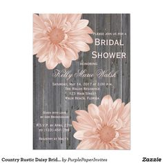 Country Rustic Daisy Bridal Shower Invitation Check out our matching accessories. Country Rustic Pink Gerber Daisy Bridal Shower Invitations. Cute for a Bridal Shower, Engagement Part, Wedding Invitation or Save the Date.  #weddinginvitations, #rusticweddinginvitations, #floralweddinginvitations