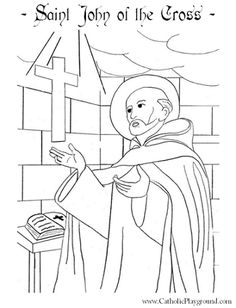 St John of the Cross Catholic Saint coloring page, Feast is December 14th