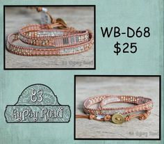 WB-D68 beaded double wrap bracelet - Pink Lemonade seed bead mix by 83GypsyRoad on Etsy