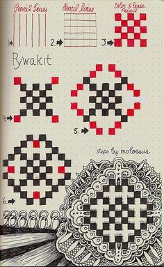 Life Imitates Doodles: New pattern Pywackit/Rhodia Journal swap Tangle Doodle, Tangle Art, Zen Doodle, Doodle Art, Zentangle Drawings, Doodles Zentangles, Doodle Drawings, Doodle Patterns, Doodle Designs
