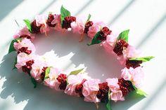 Ribbon lei for hula girls(pink hibiscus) /Hula Accessories/Hula Flowers/Hawaii /hawaiian crown/headband/haku/Graduation Leis/ Hawaiian Party Favors, Ribbon Lei, Graduation Leis, Hula Girl, Crown Headband, Hibiscus, Pink Girl, Floral Wreath, Pretty