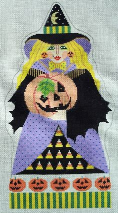 HP Needlepoint 18ct Shelly Tribby Witch with Candy Corn Pumpkins SN07 | eBay