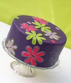 Beautiful Cake Pictures: Pretty Purple Birthday Cake with Colorful Flowers - Birthday Cake, Colorful Cakes, Flower Cake - Birthday Cake With Flowers, Birthday Cake Pictures, Purple Birthday, Birthday Cakes, Birthday Ideas, Cupcakes, Cupcake Cakes, Beautiful Cake Pictures, Beautiful Cakes