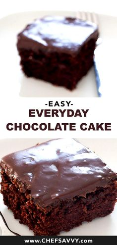 Ready in under an hour this quick and Easy Everyday Chocolate Cake is a family favorite. It is a rich chocolate cake made in a 9 x 9 pan with easy ganache frosting! Perfect for special occasions or everyday! | chefsavvy.com #chocolate #cake #chocolatecake #dessert #ideas #easydessert #partyfood #treat ...ltc Keep your tray or dish which you will pour the melted chocolate ready and close by so that as soon as the chocolate is melted you can pour it in O...e decadence cookies that wont last… Easy Chocolate Desserts, Best Chocolate Cake, Low Carb Chocolate, Chocolate Recipes, One Pan Chocolate Cake Recipe, Homemade Chocolate Cake Easy, Chocolate Cake With Ganache, Simple Chocolate Cake, Cold Desserts
