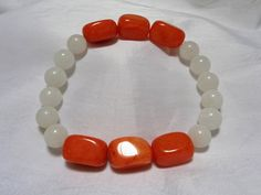 White and Orange Quartzite Stone Bead Stretch Bracelet by NfntyArt on Etsy