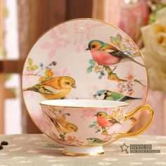 Porcelain tea cup and saucer ultra-thin bone china flowers and birds pattern design outline