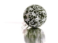 UNBREAKABLE Christmas Black and White Christmas Ornament Hand Painted Plastic Ornament Unbreakable