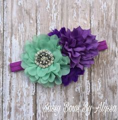 Mint and Purple Shabby Chic Headband Baby by SassyBowsByAlyssa