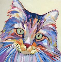 Contemporary animal painting of a cat Bubba, painting by artist Carolee Clark: