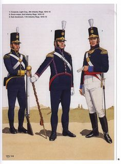 Portuguese 9th Infantry Regiment, Light Company, Corporal. 2nd Infantry Regiment, Drum-major & 11th Infantry Regiment, Sub-Lieutenant, 1810-15