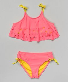 Another great find on #zulily! Pink & Yellow Neon Ruffle Bikini - Girls by Jantzen #zulilyfinds