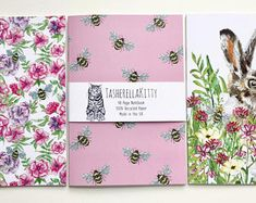Set of 3 Notebooks - The English Garden Stationary Supplies, A5 Notebook, Notebooks, Artisan, Etsy Seller, English, Unique, Illustration, Creative
