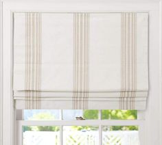 Captivating Fabric Roman Shades Cordless and Riviera Stripe Cordless Roman Shade Pottery Barn 29322 is among images of Roman Shades concepts for your resid Blackout Roman Shades, Faux Roman Shades, Patterned Roman Shades, Burlap Roman Shades, Fabric Roman Shades, Pottery Barn, Blue Pottery, Plywood Furniture, Painted Furniture