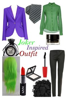 """Joker Inspired Outfit"" by elizabeth-horan-i ❤ liked on Polyvore featuring MAKE UP STORE, ESCADA, Glanshirt, Valentino, NYX, Manic Panic NYC, Urban Decay, Illamasqua and Rimmel"