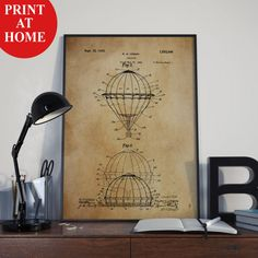 Hot Air Balloon Patent Art Print-Old Poster-Patent Prints-Patent Poster-Printable Wall Art-Man Cave Decor-Boyfriend Gift-Girlfriend Gift