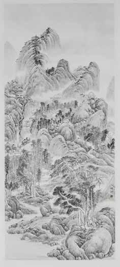 """Plum Blossoms Artist: Tai Xiangzhou; Ink on Paper, 2012, Painting """"Solitary Temple by the Pine Cave"""""""