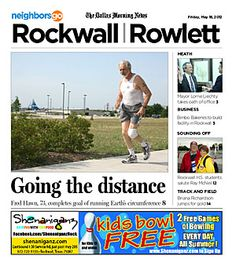 05/18: It took 32 years, but Fred Hawn of Rockwall has run 24,902 miles - the equivalent of the Earth's circumference at the equator.   http://www.neighborsgo.com/stories/83167