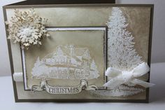 White embossed Christmas cards & also includes a tutorial on a christmas ornament