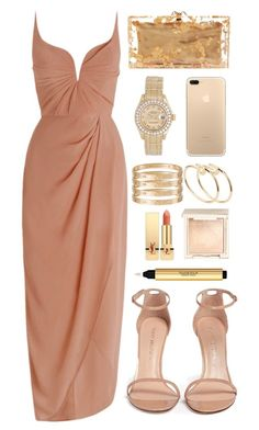 """inspired gala outfit"" by cristinahope ❤ liked on Polyvore featuring Stuart Weitzman, Charlotte Olympia, Zimmermann, Cartier, Rolex, Jouer and Yves Saint Laurent"