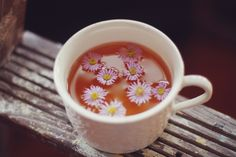Tea and flowers.