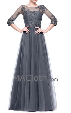 Half Sleeves Lace Tulle Long Gray Evening Gown Wedding Party Dress