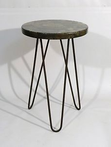MARBLE TOP IRON HAIRPIN SIDE TABLE FRENCH 1950s ROYERE Attbn