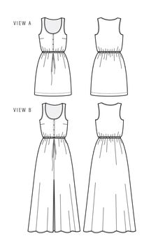 The Southport Dress sewing pattern by True Bias is a sundress with a center front button placket, drawstring waist, and two lengths.