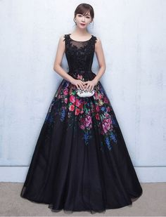 Grace Kelly Inspired Elegant Floral Prom Dress