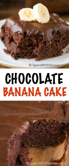 Chocolate Banana Cake is the perfect dessert for when you are short on time but need a yummy dessert. The addition of bananas to this recipe makes a box mix chocolate cake into a deliciously moist and decadent treat! (hard icing for cookies) Chocolate Box Cake, Chocolate Desserts, Chocolate Ganache, Chocolate Banana Brownies, Chocolate Cake Mix Recipes, Chocolate Buttercream, Chocolate Muffins, Buttercream Frosting, Vegan Chocolate